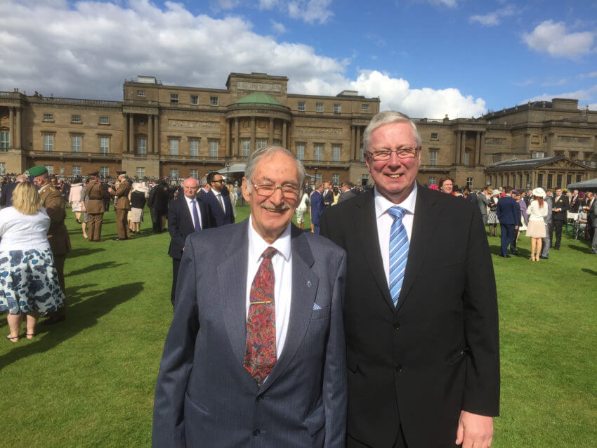 Bob Chambers, Vice Chair of N&BNWA and Steve Hammond, Chair, at the garden party at Buckingham Palace