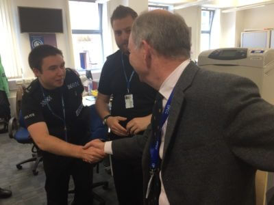 The PCC meets Special Constable Sam Slemensek and Special Constable Glenn Smith at Leamington.