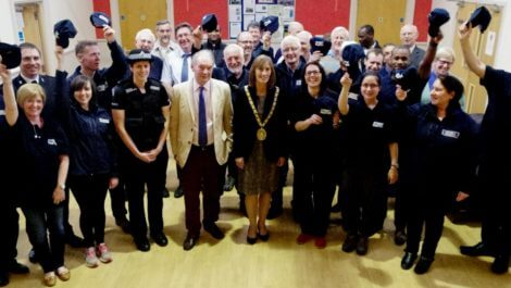 Philip celebrating with the Rugby Street Pastors last month following the induction of 10 new volunteers.