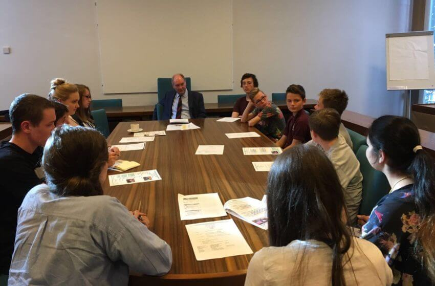 Warwickshire Police and Crime Commissioner Philip Seccombe at the meeting of the Warwickshire Youth Parliament