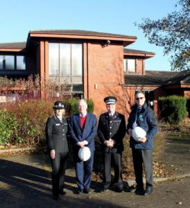 Assistant Chief Constable Amanda Blakeman, Warwickshire Police and Crime Commissioner Philip Seccombe, Chief Constable Martin Jelley and Michael Clifton, Estate Project Manager from Place Partnership at Neville House