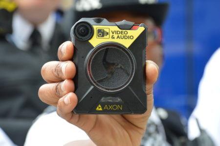 An Axon body worn video camera