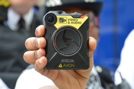 An Axon body worn video camera