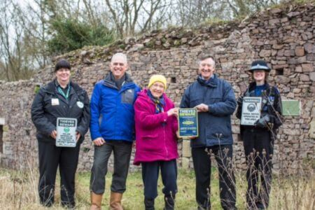 At Hartshill Castle are North Warwickshire Rural Crime Co-coordinator Carol Cotterill; Ian George, Inspector of Ancient Monuments for Historic England; Miss Jean Lapworth, custodian of the castle; Phil Cleary, Co Founder and Director of Smartwater and PCSO Sarah Fretter.