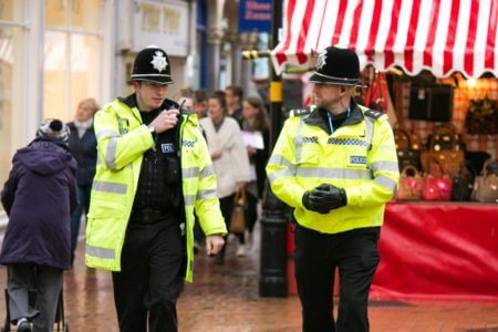 Police officers on foot patrol