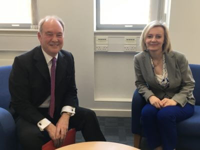 Warwickshire Police and Crime Commissioner Philip Seccombe with the Lord Chancellor and Secretary of State for Justice Liz Truss MP during their meeting at the Justice Centre in Leamington Spa.