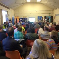 Carol Cotterill addresses the meeting at Over Whitacre