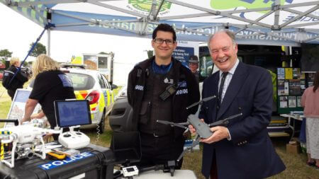 Inspecting the Warwickshire Police 'drone' equipment with its chief pilot, PCSO Andy Steventon.