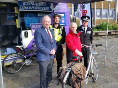 A bike marking event in Warwick.