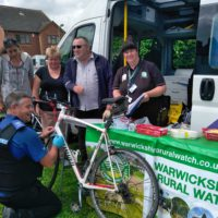 A bike is security marked during property marking event in Birchmoor.