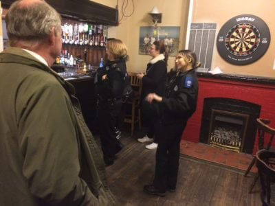 Observing a licensing check in a Leamington Spa pub. All in order!