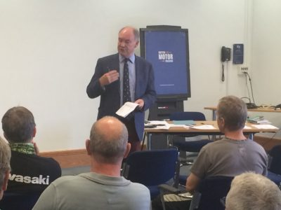 PCC addressing the participants in the Rider Skills Day at the British Motor Museum, Gaydon.