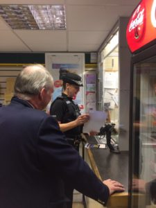 Handing out Halloween advice posters to local shops with the SNT.
