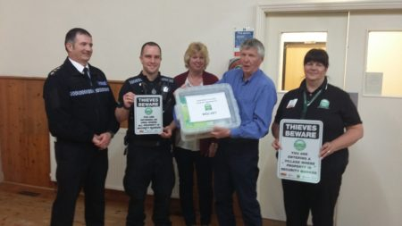 Pictured with the crime prevention toolbox are, from left, Chief Inspector Neil Harrison and PC Stuart Baker from Warwickshire Police; Jackie Essex, Parish Clerk and John Hawkins, Vice Chair of Wolvey Parish Council; and Carol Cotterill, Rural Crime Coordinator for North Warwickshire.