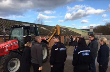 Course attendees examining plant equipment at Moreton Morrell.