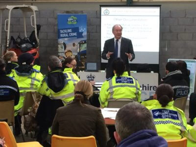Warwickshire Police and Crime Commissioner Philip Seccombe addressing the course at Pailton