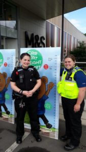 In Rugby, Specials asssisted the Safer Neighbourhood Team with child car safety seat checks at Elliot Field Retail Park.