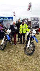 Discussing the wide use of Warwickshire Police off road motorcycles with Sgt Bridle and Special Inspector Pegg.