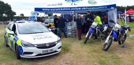 The Warwickshire Police Rural Matters and Rural Watch stand at Kenilworth Show.