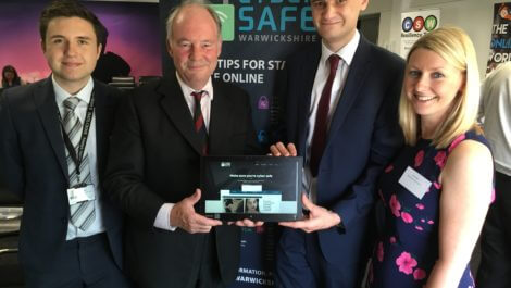 Launching the Cyber Safe Warwickshire website, from left, are Cyber Crime Advisor Sam Slemensek, Police and Crime Commissioner Philip Seccombe, Cyber Crime Advisor Alex Gloster and Louise Williams, Warwickshire County Council's Community Safety Manager.