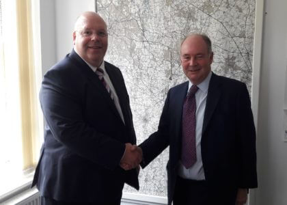 Warwickshire Police and Crime Commissioner Philip Seccombe (right) welcoming his new Deputy Rob Tromans