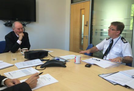 Police and Crime Commissioner Philip Seccombe holds Chief Constable Martin Jelley to account at their weekly meeting.