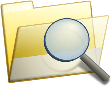 Graphic showing a folder and magnifying glass