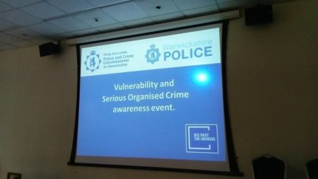 A presentation on screen at the Vulnerability and organised crime awareness event