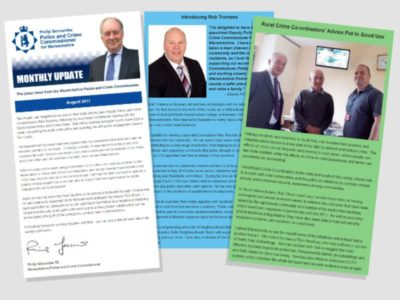 Screenshot of the PCC's monthly newsletter