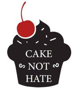 Image of a cake with 'Cake not Hate' written on it