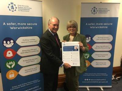 Warwickshire Police and Crime Commissioner Philip Seccombe launching the Victims and Witnesses Charter with Baroness Helen Newlove, Victims' Commissioner for England and Wales