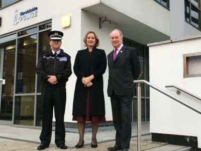 Warwickshire Police Chief Constable Martin Jelley and Police and Crime Commissioner welcome Home Secretary Amber Rudd MP (centre) to the Leamington Justice Centre.