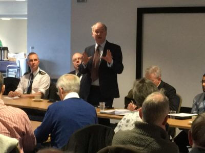 Warwickshire Police and Crime Commissioner addresses the Community Speed Watch summit in Warwick.