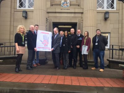 Helping to launch the #NoMeansNo campaign outside Nuneaton Town Hall.