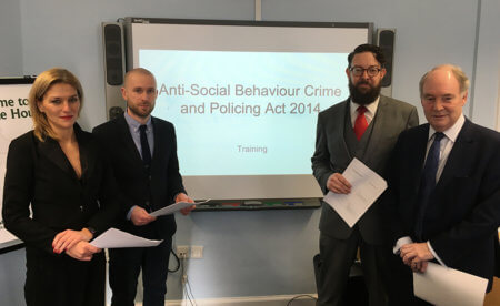 Pictured at the training event are, from left:  Lara Macnab (Warwickshire Legal Services), Tom Rogers (Warwickshire MAPPA Coordinator), Michael Goucher (Warwickshire Legal Services) and Warwickshire Police and Crime Commissioner Philip Seccombe.