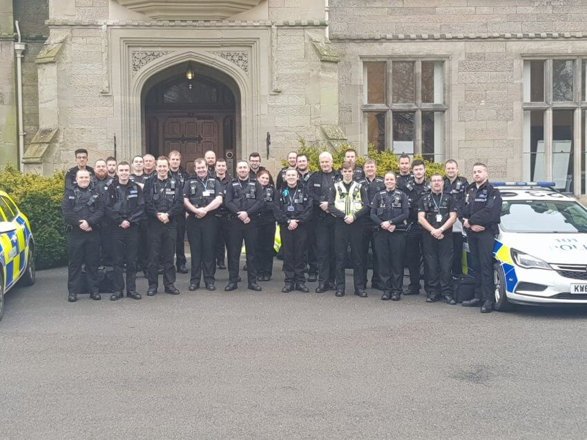 Members of the Warwickshire Special Constabulary lineup ahead of Operation Scorpion in January 2018