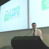Cyber Crime Advisor Alex Gloster addresses the academy students on staying safe online.