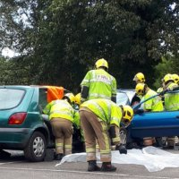 Fire officers at a mock collision
