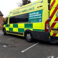 An ambulance at the road traffic collision demonstration.