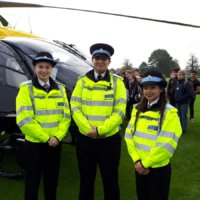 Cadets are given a tour of the Police Helicopter.