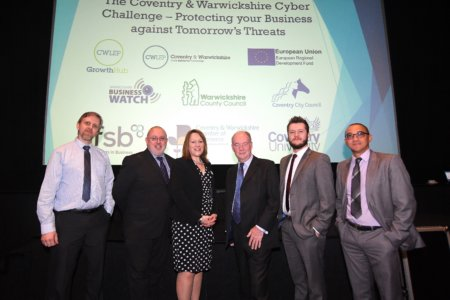 From left, Neil Batchelor (Coventry and Warwickshire Chamber of Commerce); Richard Warren (CWLEP Growth Hub); Helen Barge (Risk Evolves); Philip Seccombe (Warwickshire Police and Crime Commissioner); Louie Augarde (OmniCybersecurity) and Alexeis Garcia-Perez (Centre for Business in Society at Coventry University)