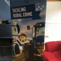 A banner at the farm event