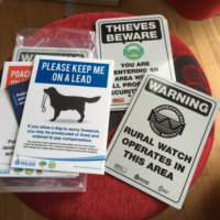 Crime prevention signs which have been produced by the Warwickshire Rural Crime Project.