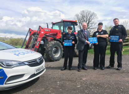 Launching the 'Police - stop this vehicle' scheme for agricultural vehicles are, from left: PCSO Jane Owen, Warwickshire Police and Crime Commissioner Philip Seccombe, Rural Crime Co-ordinator Carol Cotterill and Sergeant Neil Pearsall.
