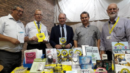 : Warwickshire Police and Crime Commissioner Philip Seccombe (centre) is pictured, from left, with Chris Cade, chair of Warwickshire Neighbourhood Watch Association and vice-chair of Rugby Borough NHW; Colin Cartright from North Warwickshire NHW Association; Neil Cavanagh, chair of Nuneaton North East NHW Association; and Tony Hardman from North Warwickshire NHW Association.