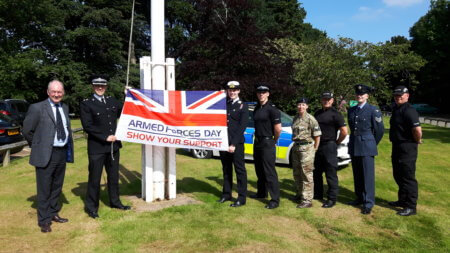 Pictured (from left to right): Warwickshire Police and Crime Commissioner, Philip Seccombe, Ch Supt Franklin-Smith, Sgt Vicky Duffield-Smith (Navy Reserve), Sgt Miles Bullock (Army Reservist), Insp Lucy Sewell (Army Reservist), PC Dave Picken (Veteran), PC Adam Fletcher (RAF Cadet Instructor) and PC Nik Walpole (Veteran).