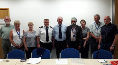 Warwickshire Police and Crime Commissioner Philip Seccombe with Inspector Chris Walton from Warwickshire Police and members of the Southern ICV Panel at Leamington Justice Centre