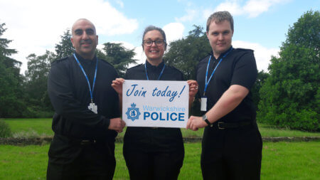 Student officers PC Mohammed Mazhar, PC Sophie Reading and PC Tom Poole encouraging others to join them in a career with Warwickshire Police.