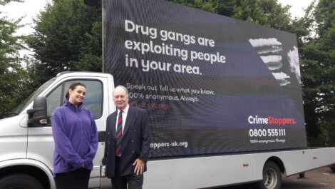 Warwickshire Police and Crime Commissioner Philip Seccombe with Emily van der Lely from Crimestoppers and the ad van at its first stop in Stratford Upon Avon.