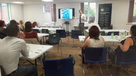 'Cyber Sam' delivering parents online grooming session in Stratford